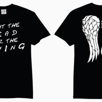 Fight The Dead Fear The Living With Daryl Dixon Angel Wings Adult T-Shirt