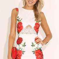 White Floral Print Lace Panel Dress