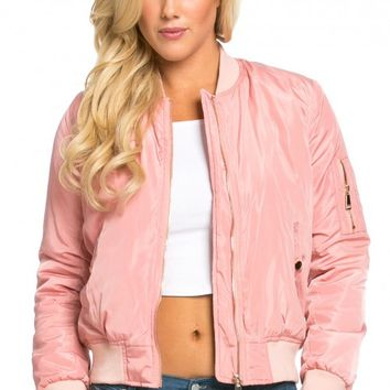 Classic Flight Bomber Jacket in Pink (Plus Sizes Available)