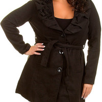 Sexy Womens Plus Size Black WooL Long Trench Coat Jacket Outerwear Belted 1X-3X
