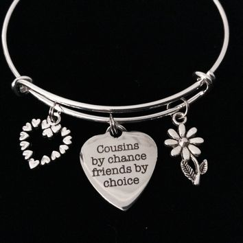 Cousins by Chance Friends by Choice Adjustable Bracelet Expandable Charm Bangle Trendy Reunion Gift