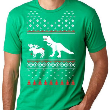 Men's T Rex Attack Ugly Sweater T-Shirt dinosaur, dad, christmas, stocking stuffer, cheap, him, guys shrits, gifts for guys, clothes S-5XL