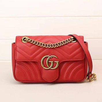 Gucci Women Trending Fashion Leather Satchel Shoulder Bag Crossbody G