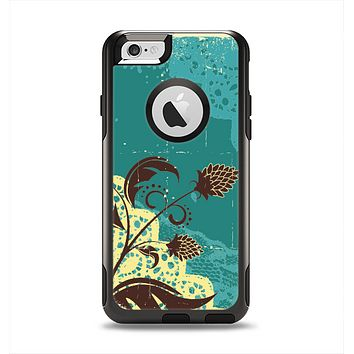 The Yellow Lace and Flower on Teal Apple iPhone 6 Otterbox Commuter Case Skin Set