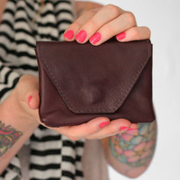 Small Leather Wallet in Eggplant Burgundy- The Pueblo Petite Wallet by Awl Snap