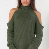 Army Green Cutout-Shoulder Knitted Sweater