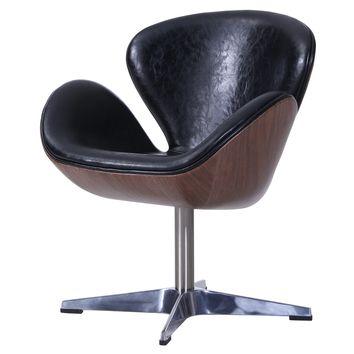 Clayton PU Leather Swivel Chair Distressed Black