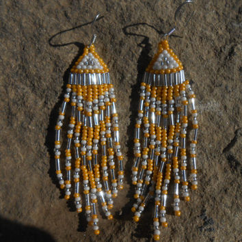 Hand Beaded Fringe Earrings, Brick Stitch, Yello, White and Silver Seed Beads, Native American Inspired, Handmade, Powwow, Rendezvous