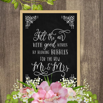 Blow bubbles wedding sign, Bubble send off sign, Wedding ceremony decorations, Outdoor wedding ceremony decor, Instant download wedding sign