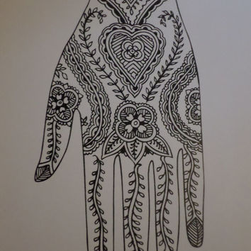 Mendi Boho Tribal Henna Tattoo Art Design Hand 100 or 200 Pages Sketchbook Doodler