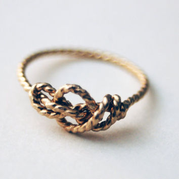 14k Gold Filled Handformed Sailor's Love Knot ring by NestedYellow