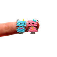 Cute Robot Charms, Seed Bead Jewelry - Blue & Pink Robot Pair
