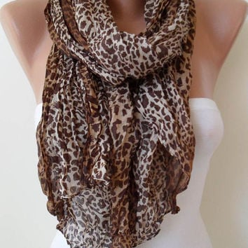 Brown and Leopard Scarf by SwedishShop on Etsy