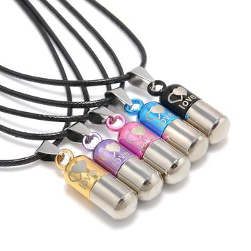 Metal Urn Cremation Save Love Can Open Pills Pendant Necklace Ash Holder Mini Keepsake Jewelry Silver