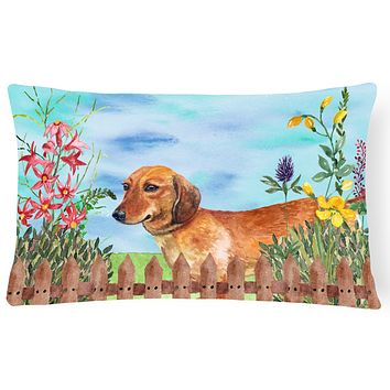 Dachshund Spring Canvas Fabric Decorative Pillow CK1214PW1216