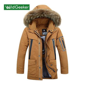 Wildgeeker Men's Down Coat Jackets Thick keep Warm Men jacket fur Collar Waterproof Hooded Winter Coat Male Men's Down Coat