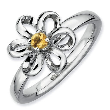 Citrine Flower Stackable Ring