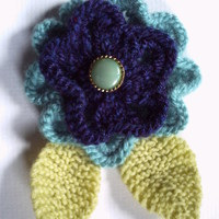 OOAK hand knitted flower brooch pin. Turquoise and navy blue.