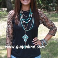 Lace Get Together Black Burnout Baseball Tee with Cheetah Lace Sleeves