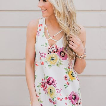 Chasing Flowers Criss Cross Tank Top- Ivory