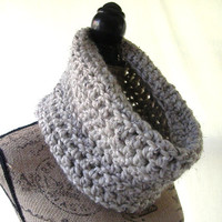 Ready To Ship Oatmeal Alpaca Blend Wool Neck Warmer Cowl Scarf Fall Winter Women's Accessory Infinity