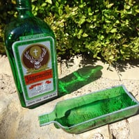 Repurposed Jagermeister Bottle Serving Tray for Olives, Dips and Salsa