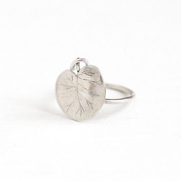 Antique Sterling Silver Water Lily Pad Plant Ring Vintage Art Nouveau 1910s Size 3 Dainty
