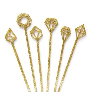 Gold Geometric Gem Drink Stirrers - 6 Gold Glitter Swizzle Sticks - Geometric Party // Cocktail Stir Sticks // Wedding Decor