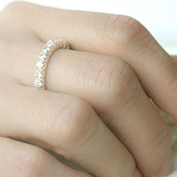 White Sapphire Silver Ring Sterling Ring .925 Silver Ring Personalized Ring