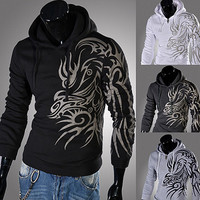 Tattoo Print Pullover Slim Fit Men Fashion Hoodie