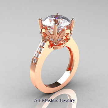 Classic 14K Rose Gold 3.0 Carat White Sapphire Diamond Solitaire Wedding Ring R301-14KRGDWS