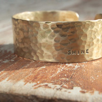 Valentine's Sparkle for Her - Boho Chic Hammered Stacking Gold Dust Curl with Power Word Engraved on the Outside