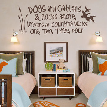 Duck Hunting Decal - Dogs and Cattails - Baby Boy Wall Decal - Nursery Decal - Kids Room Decor