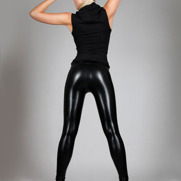 Black Leather Leggings , Shiny Spandex Pants, Meggings, Sexy Club Wear, Heavy Metal Stage Clothing, Glam Rock, Halloween, by LENA QUIST