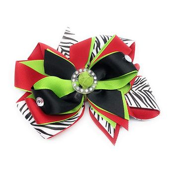 Girls Christmas Rocking Zebra Bling Hair Bow
