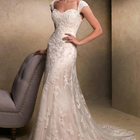 2017 White Ivory Long Tulle Mermaid Lace Bride Wedding Dresses Removable Straps Chaptel Train Bridal Gowns
