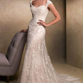 2017 White Ivory Long Tulle Mermaid Lace Bride Wedding Dresses Removable Straps