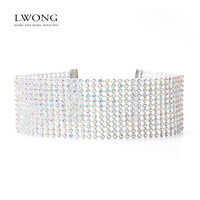 LWONG Elegant Wide Crystal Rhinestone Choker Chocker Necklace Women Fashion Pave Rhinestones Chokers Jewelry Christmas Gifts