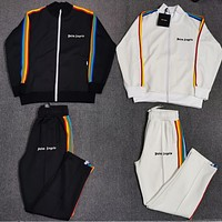 PALM ANGELS New men women Rainbow bar zipper outerwear pants two piece suit