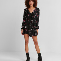Black Floral Ruffle Wrap Front Dress