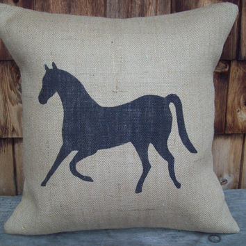 Burlap Horse Decorative Pillow Cover 18  x 18 by North Country Comforts / Horse Pillow Cover / Equestrian Decor