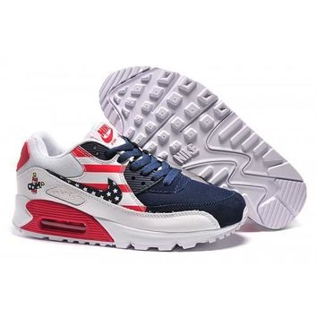 Men s Women s Nike Air Max 90 USA Flag Navy White Red Running Shoes