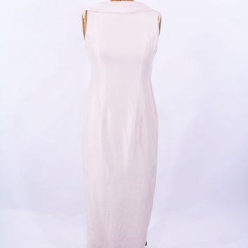 Minimalist Beige Dupioni Silk Evening Dress S/M