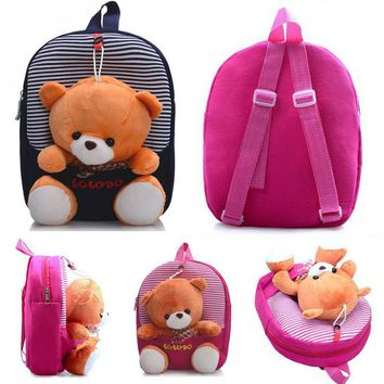 Kawaii Cute Children School Bags Backpack Kindergarten Girls Boys Kid Backpack Cute Cartoon Toys Bear Schoolbag