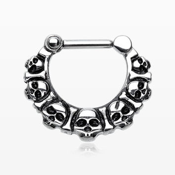 Death Skull Heads Septum Clicker Ring