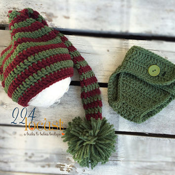 Elf, Elf Hat, Baby Stocking Hat, Diaper Cover, Christmas Elf Hat, Red Stripe, Christmas Gift, Holiday, Costume, Photo Prop, Photography Prop