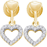 Round Diamond Fashion Earrings in 10k Gold 0.2 ctw