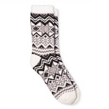 Women's Cozy Feather Lined Crew Socks Shell Fairisle One Size - Merona™