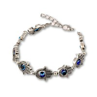 Beaded Bracelet Turkish Evil Eye Amulet Charm Hand Of Fatima Silver