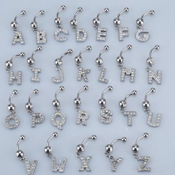 26 Styles A to R Fashion Letter Pendant silver  Crystal Navel Belly Button Bar Ring Body Piercing Jewelry Drop Shipping